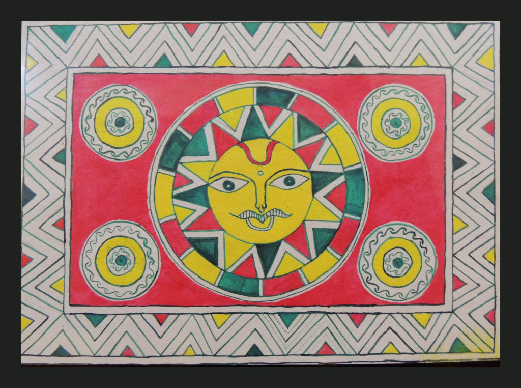 Painting of God Sun in Manjusha Art by Sujit